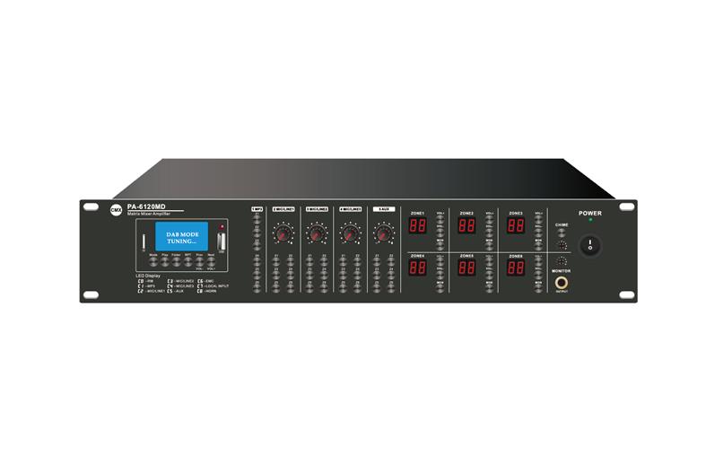 6 Zone Mixer Amplifier with Audio Matrix/Mp3/USB/FM/Bluetooth, PA-6030MX, PA-6060MX, PA-6120MX